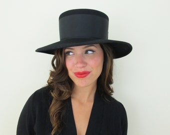 80s IMPORTINA Black Wide Brim Wool Hat with Large Bow