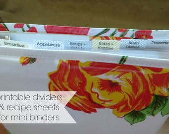 printable dividers for mini binders // a5 dividers downloadable recipe dividers and recipe card for half sheet binders A5 organizer