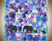 "Animal Painting elephant art Wall art wall hangings wall decor Acrylic Impasto home office wall art ""The Elephant's Journey"" by qiqigallery"