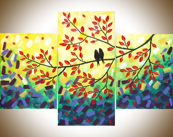 "Set of 3 paintings love birds painting red purple green yellow canvas art gift for couple gift for her ""Autumn Romance"" by qiqigallery"