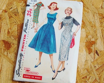 Vintage Simplicity 1950's Pattern Full or Pencil Skirt Dress 1734 size 11 Bust 31 1/2 Simple to Make
