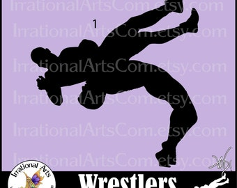 Wrestlers Silhouettes Pose 1 with 1 PNG EPS SVG digital clipart graphic {INSTaNT DOWNLOaD}