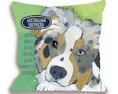 Australian shepherd pillow Aussie dog breed pillow customizable with your dog's name home decor 18x18