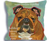 Bulldog No. 3 - dog art pillow 18x18 custom option add your dog's name, ursula dodge dog home decor, dog breed art, pet portrait pillow,