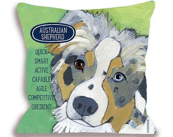 Australian shepherd pillow Aussie dog breed pillow customizable with your dog's name home decor 18x18