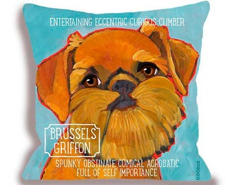 Brussels griffon dog pillow 18x18 brussels home decor  customize with your dog's name from original art by ursula dodge