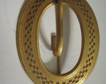 Antique Victorian Art Deco Sash Pin Brooch in Gold Topped Metal
