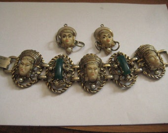 Vintage Selro Selini Asian Princess Panel Bracelet and 2 Charms for Pendant or Earrings 50s
