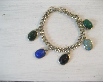 Vintage Scarab Egyptian Revival Charm Style Bracelet
