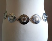 Silvertone Concho Belt with Large Detailed Medallions