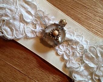 Narrow Vintage Lace and Rhinestone Wedding Jazz Flapper Headband