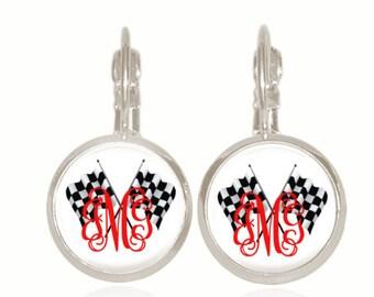 Race Car Earrings, Racing Jewelry, Monogram Earrings, Drop Earrings, Personalized Gift, Vine Font, Car Racing (Checkered Flag Earrings)