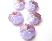 PANSY BEADS Artisan Lamp work Glass in amethyst and lavender pink for embellishment or jewelry supplies