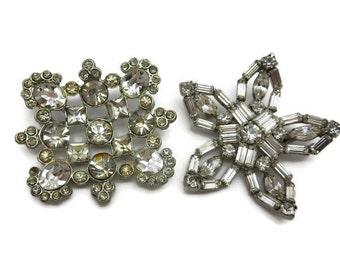 Rhinestone Brooch Pair - Bridal Costume Jewelry Clear Stones