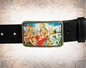 Belt Buckle - Durga - Leather Insert Belt Buckle