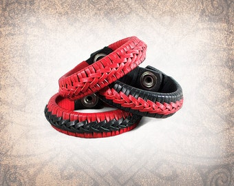 Braided Leather Cuff, Leather, Leather Bracelet, Black and Red Leather Cuff, Leather Band, Braided Bracelet - Custom to You (1 cuff only)