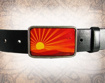 Belt Buckle - Sunset - Leather Insert Belt Buckle