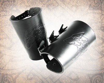 Leather Bracers - The Wolf Bracers, Adjustable Leather Cuff, Black Bracers, Black Leather Cuff - Custom to You (1 cuff only)