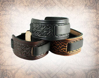 Celtic Knot Leather Watch Cuff, Leather Watch Strap, Leather Watch Band, Brown Watch Cuff, Men's Watch Cuff - Custom to You (1 cuff only)