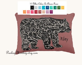 Choose your color rustic woodland bear pillow 12x16 toss pillow toddler pillow cabin decor made to order