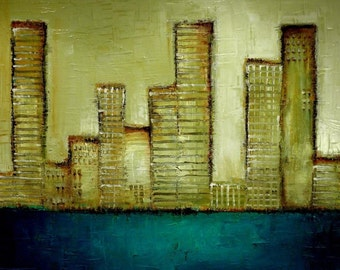 Abstract Cityscape Painting - Modern Abstract Art by SLAZO - 48x60 Made to Order