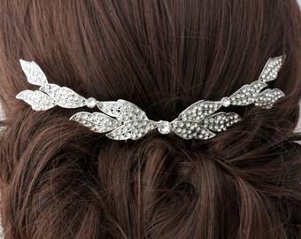 Wedding Comb Bridal Hair Accessory Crystal Leaf Back Comb Rhinestone Leaves Veil Slide Back Hair Clip Crystal Leaf ELOISE