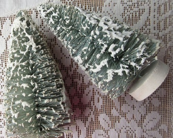 2 Bottle Brush Christmas Trees Each Is 5 Inch Tall Palest Green Snowy Trees