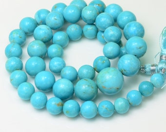7.5MM to 13.8mm Sleeping Beauty Turquoise Smooth Round Beads 17.8 inch strand