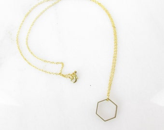 Minimalist Geometric Brass Necklace // Dainty Hexagon Circle Layering Necklace