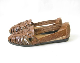 Vintage 80's Brown Woven Leather Huaraches. Size 9