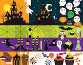 Halloween clip art - haunted house clipart spooky clipart jack o'lanterns pumpkins witch halloween candy spider web bats cute ghosts kawaii