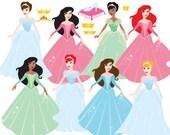 Princess clip art - princesses clipart glass slipper Cinderella crown fairy tale fairytale commercial use Cendrillon African American