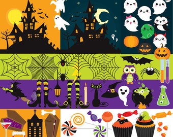 Halloween clip art - haunted house clipart spooky clipart jack o'lanterns pumpkins witch halloween candy spider web bats cute ghosts kawaii