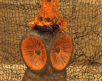 Paper mache Halloween Owl w/ Lg Eyes
