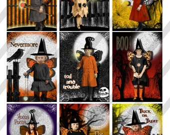 """Digital Collage Sheet, Halloween ACEO sized, 2.5"""" X 3.5"""", and 4"""" x 6"""" Sized (Sheet no. H36) Sheets and Individual files, Instant Download"""