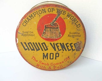 Vintage 1920's Liquid Veneer Mop Household Cleaning Lithographed Tin, Laundry Room Decor, Kitchen Tin, Yellow, Red, Buffalo NY