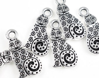 Silver Cat Charms - Antique Silver Charms - TierraCast Spiral Cat Charms - Tierra Cast Charms (P181)
