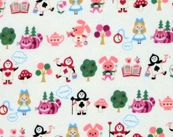 One Yard Japanese Cotton Fabric Alice in Wonderland Small White or Pink