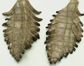 Two Tan and Light Pink/Brown Scales Leather Feathers 013