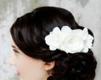Diamond White or Ivory Triple Flower Wedding Hair Accessory
