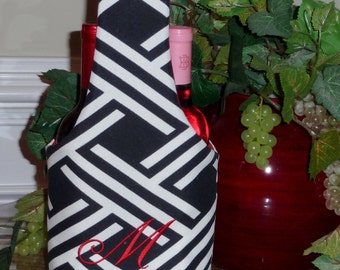 Double Wine Tote, Insulated, Monogrammed, Black and White