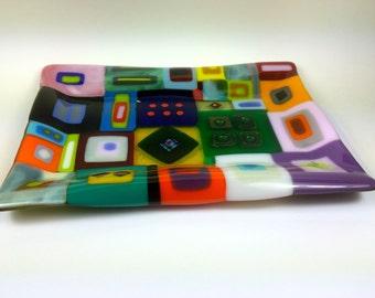 Sexy Retro brightly Colorful Fused Glass Tray