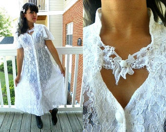SALE 1990s Vintage Sheer White Lace Maxi Grunge Dress High Collar Sweetheart Button Down Butterfly Sleeve Size Small