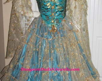DDNJ Choose Fabrics 4pc Gilded Fairy Queen Reversible Muffin Top Corset Renaissance Fantasy Larp Anime Wedding Plus Custom Made Any Size