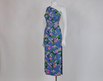 1960s dress /  One Shoulder Vintage 60's Tiki Mod Dress