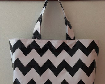 Beth's Large Black and White Chevron Oilcloth Market Tote Bag