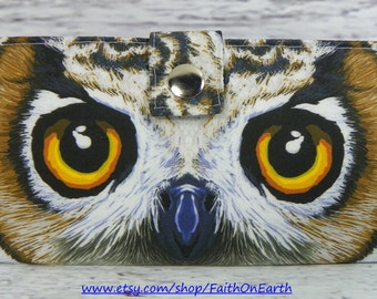 Handmade Long Wallet  BiFold Clutch - large owl eyes