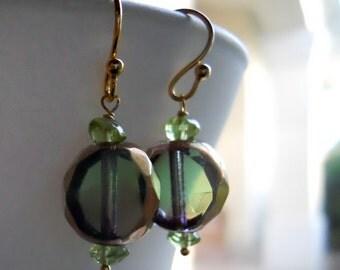 Green Breeze Earrings, Green, bronze, plum, shiny Czech glass cut earrings, Czech Glass Earrings, peridot earrings, gemstone earrings