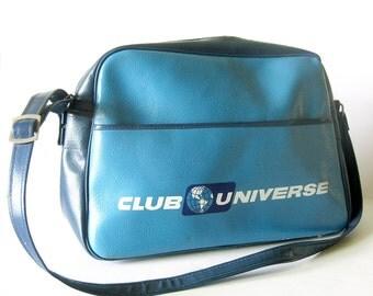 1960s Vintage Flight Bag Travel Bag - Club Universe Unitours Blue Two-Tone Messenger Bag