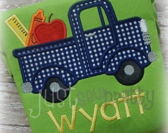 Back to School Truck Embroidery Applique Design